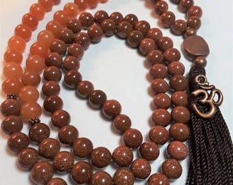 Red Adventurine & Goldstone Prayer Mala