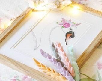 A5 SWAN with flower crown art print nursery decor
