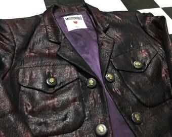 Vintage Moschino blazer crop jacket snakeskin purple velvet