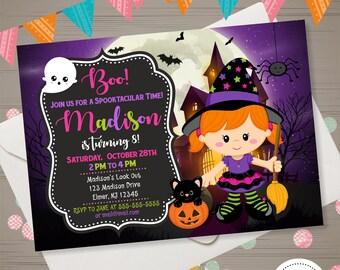 Witch Invitation, Halloween Birthday Invitation, Girls Halloween Invite, Witch Halloween Invitation Halloween Party Costume Party Invitation