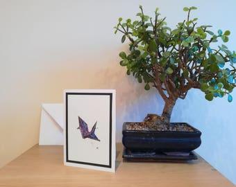 Origami crane print card