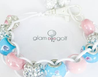 Classy Beaded golf score stroke counter bracelet or clip on your golf bag made with blue, pink, and crystal beads