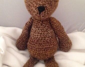 """Crochet Teddy Bear, 17"""" teddy bear, handmade teddy bear, variegated brown crochet teddy"""