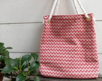 Red monogram canvas beach bag/ fabric tote/ beach bag/ canvas bag/ bridesmaid gift and wedding gift/ school bag