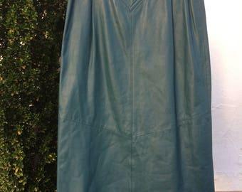 80s Vintage Teal Leather Skirt CHIA  brand