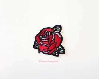 1x cute red pink rose PATCH  Iron On Embroidered Applique love shabby DIY jacket vintage retro flower romantic tattoo