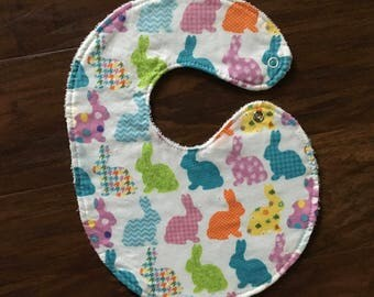 Bunny Bib, Easter Bib, Baby Shower Gift, Spring Bib, Rabbit Bib, Pattern Bib, New Mom Gift, Side Snap Bib, Baby Branch Boutique