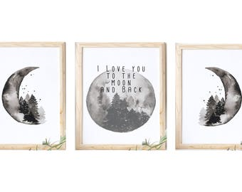 I Love You to the Moon and Back/ 8 x 10 Instant Download Printables/ Set of 3/ Moon Phase/ Love Prints