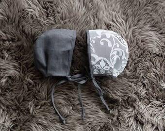 linen bonnet // baby bonnet // lace bonnet // reversible bonnet // eco-friendly // coalbanks