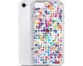 iPhone 5 6 7 8 Case Watercolor Colorful Polka Dots Women's Gift Idea Protective iPhone Case Paint Art