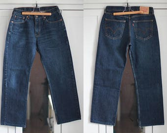Levi's 753 Vintage Jeans High waisted trousers Dark blue denim Casual pants Men clothing 90s 80s Retro fashion W32 L32 / Medium size