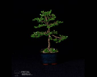 Small Green Glass Bead Wire Tree Sculpture in Blue Pot