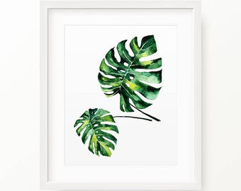 Monstera Leaf Print, Palm Modern Minimal Botanical Wall Art, Large Printable Poster, Digital Download, Tropical Decor, Green Plant Leaves