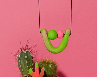 Lime Green and Hot Pink U-Shaped Necklace
