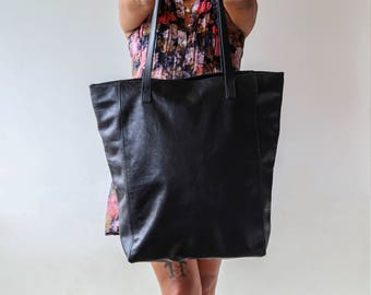 Black Leather Tote, Black Leather Bag, Black Tote, Black Handbag, Leather Tote Bag, Tote Bags, Ladies Tote With Zip