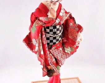 """Large 1950s 1960s Japanese Kyugetsu Doll Red Kimono Standing Wood Base 17"""""""