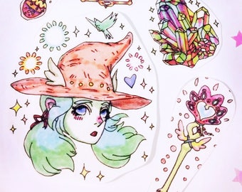 Witch sticker set, white magic black magic, glitter stickers, anime witch, manga sorceress, white mage, black mage, potions, mp, crystals