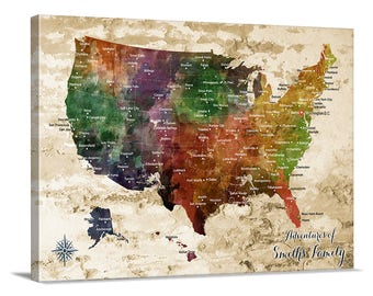 Us Map Etsy - Us map canvas