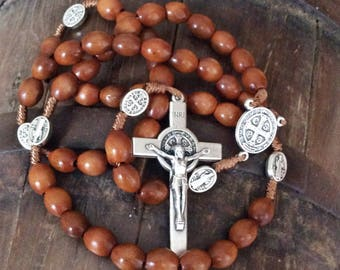 St benedict wooden rosary handcrafted in Medjugorje, catholic rosary, saint Benedict medal, catholic man gift, wooden rosary, mens rosary