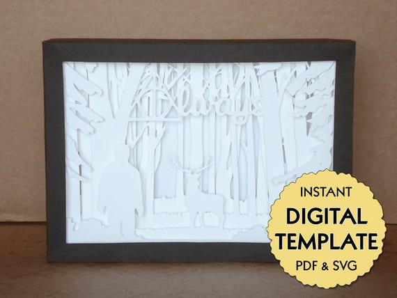 template harry potter patronus paper cut file silhouette light box tutorial pdf svg digital. Black Bedroom Furniture Sets. Home Design Ideas