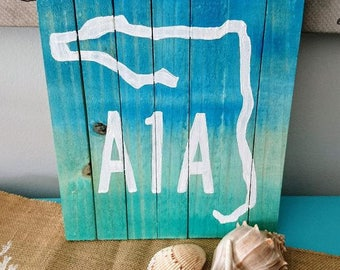 A1A painting, Florida art, Beach Pallet Art, Coastal Decor, Ocean art