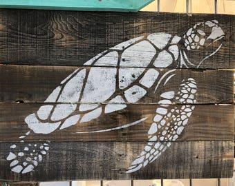Turtle Pallet Art, Sea turtle art, Reclaimed wood art, Coastal Decor