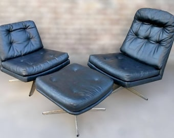 2 Black Leather Selig Swivel Mid-Century Lounge Chairs withMatching Ottoman