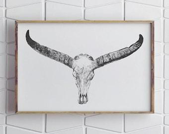 Longhorn Print, Longhorn Art, Contemporary Art, Contemporary Wall Art, Rustic Home Decor, Rustic Wall Decor, Modern Home Decor, Living Room