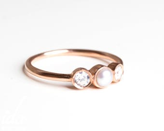 Pearl Engagement Ring - Rose Gold Engagement Ring - Diamond Engagement Ring - Unique Engagement Ring - Rings - Simple Engagement Ring
