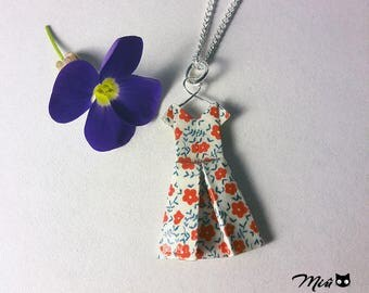 Collar Dress flowers paper origami [hand-made jewelry.