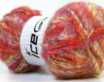 WOOL BLEND MOHAIR (40% MOHAIR) ICE YELLOW WHITE RED PURPLE 100G FINGERING 7 //34