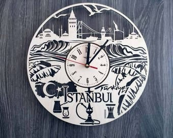 Turkey Istanbul wooden wall clock Art Decor from home office Turkey Istanbul Unique Steampunk clock Turkey personalized gifts