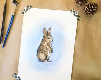 wall art, nursery print, nursery animal print, rabbit painting, woodland, animal art, woodland animals, watercolour art, watercolour print