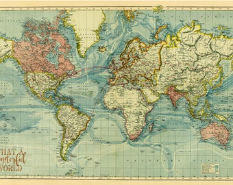 World Map Canvas Antique Map Large Wall Art Up to 6 ft.