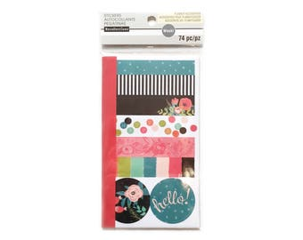 Washi Tape Sheet Booklet, Recollections Brand, Floral Blues and Reds