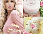 Pink Jasmine scent Body Butter - Hand Cream - Foot Cream - Massage Balm - Organic Vegan Cream - Paraben Free Skin Care - Perfume Lotion
