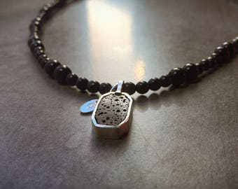 Sterling Silver lava rock necklace