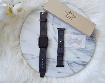 Authentic Louis Vuitton Graphite Canvas Apple Watch Straps, 38MM & 42MM Repurposed Louis Vuitton, Handmade,Upcycle LIMITED QUANTITY