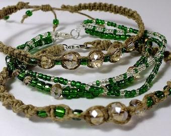 Natural Hemp Bracelet Set