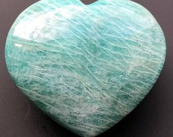 Beautiful Amazonite Crystal Heart ~ Stone of Communication ~ ( 85gm / 55mm )