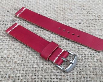 Red leather watch strap 20mm made of vegetable tanned leather, Replacement Watch Band 20 mm,Handmade leather watch strap, watches