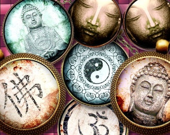 BOUDDHA  **  Digital Collage Sheet Printable Instant Download for art jewelry scrapbooking bottle caps magnets pins