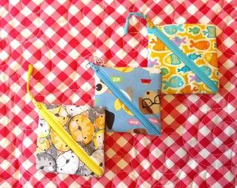 Zipper pouch, coin purse, FREE SHIPPING, sweetpeapods,  zipper purse, mini purse, Mini storage, small items pouch, small purse, zipper pouch