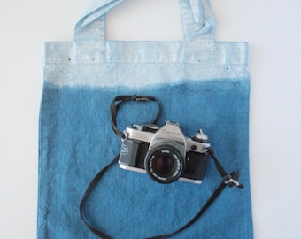 100% Linen Market Tote Bag Ocean Spray Blue Indigo Natural Dye Reusable Beach Picnic