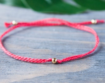 Red String Bracelet Gold Tiny Beads Wish Bracelet Red String of Fate Golden Sterling Silver Cotton String Red Thread Cord Kabbalah Bracelet