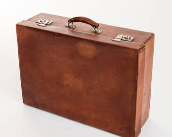 French leather suitcase vintage
