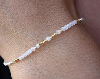 Moonstone Bracelet-Sterling Silver Beaded Bracelet-Moonstone Beaded Bracelet-Genuine Moonstone-Beaded Bracelet-Moonstone Dainty Bracelet