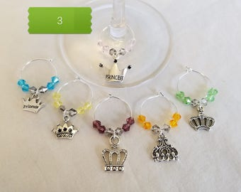 Wine Glass Charms, Wine Glass Tags, Wine Charms, Wine Glass Markers, Glass Charms, Set of 6, Princess Crowns, Tibetal silver, Party, Gift