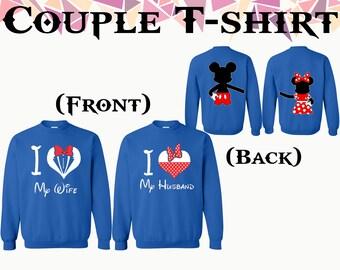 I love My Wife I Love My Husband Crewneck Mickey Minnie Sweater Front Back Printed Couple Crewneck Sweatshirt Couple Sweater Gift For Couple