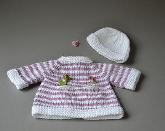 Made of 100% cotton - Waldorf doll clothes Steiner doll clothes Waldorf doll dress Steiner doll dress knit ringed stripes